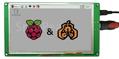 "7"" USB Capacitive Touch Screen LCD Display 800x480 HDMI For Raspberry Pi B+/Pi2"