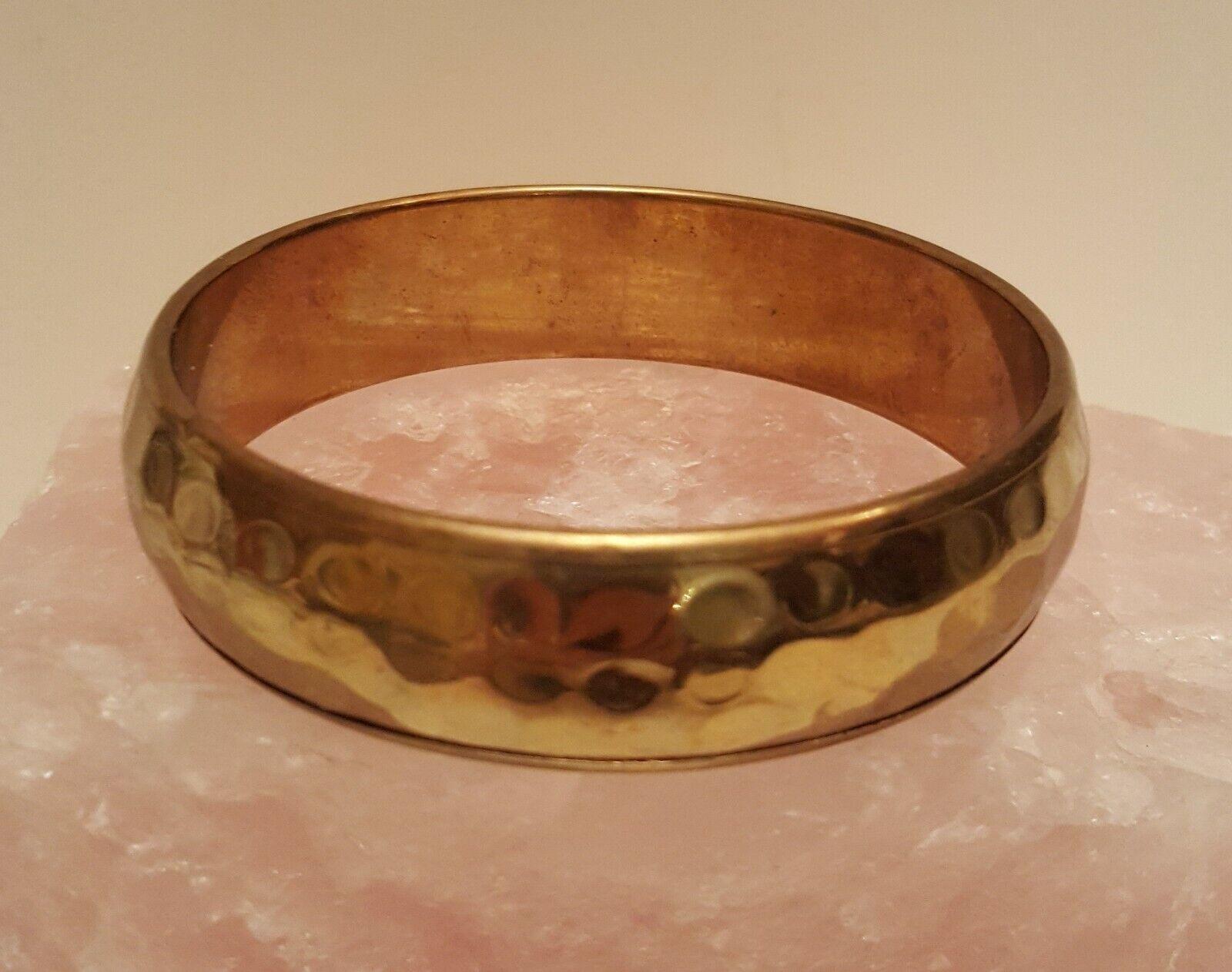 vintage 1970s vintage  Hammered Brass Bangle Cuff Bracelet