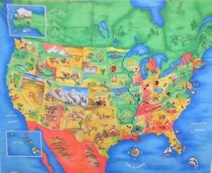 United-States-Map-State-Capitals-amp-Motif-Cotton-Fabric-Traditions-36-034-034-X44-034-Panel