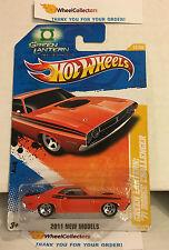 '71 Challenger GREEN Lantern #12 * Orange * 2011 Hot Wheels * N190