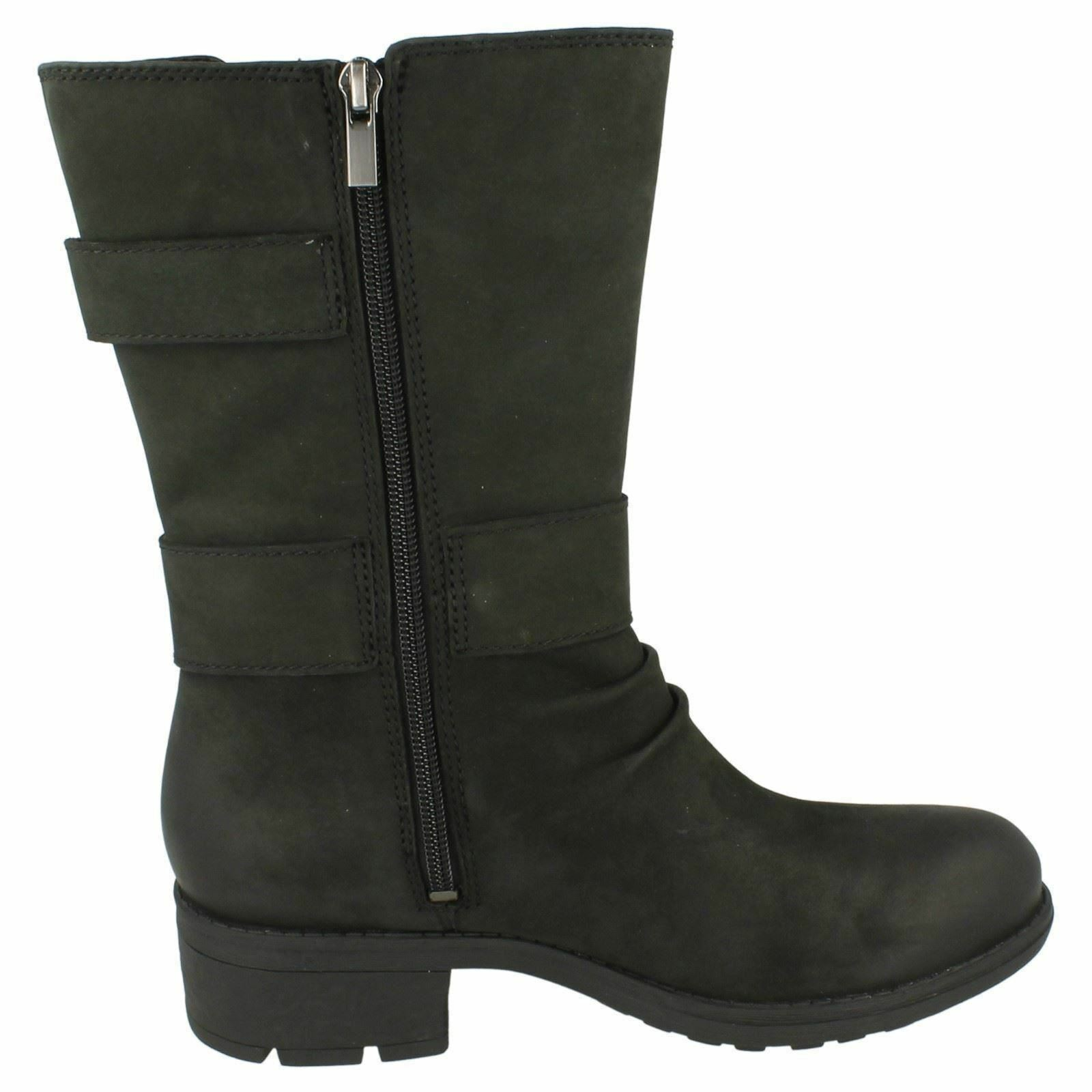 Clarks 'Mansi 'Mansi 'Mansi Tess GTX' Ladies Black Leather Biker Style Waterproof Boots D Fit 4bf383