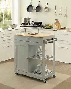 KITCHEN ISLAND on Wheels Mobile Dining Room Storage Butcher Block ...
