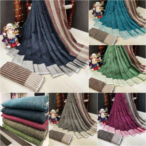 Indian Saree Sari Linen Jute Silk with Zari Border and New Rich Weaving Pallu SS