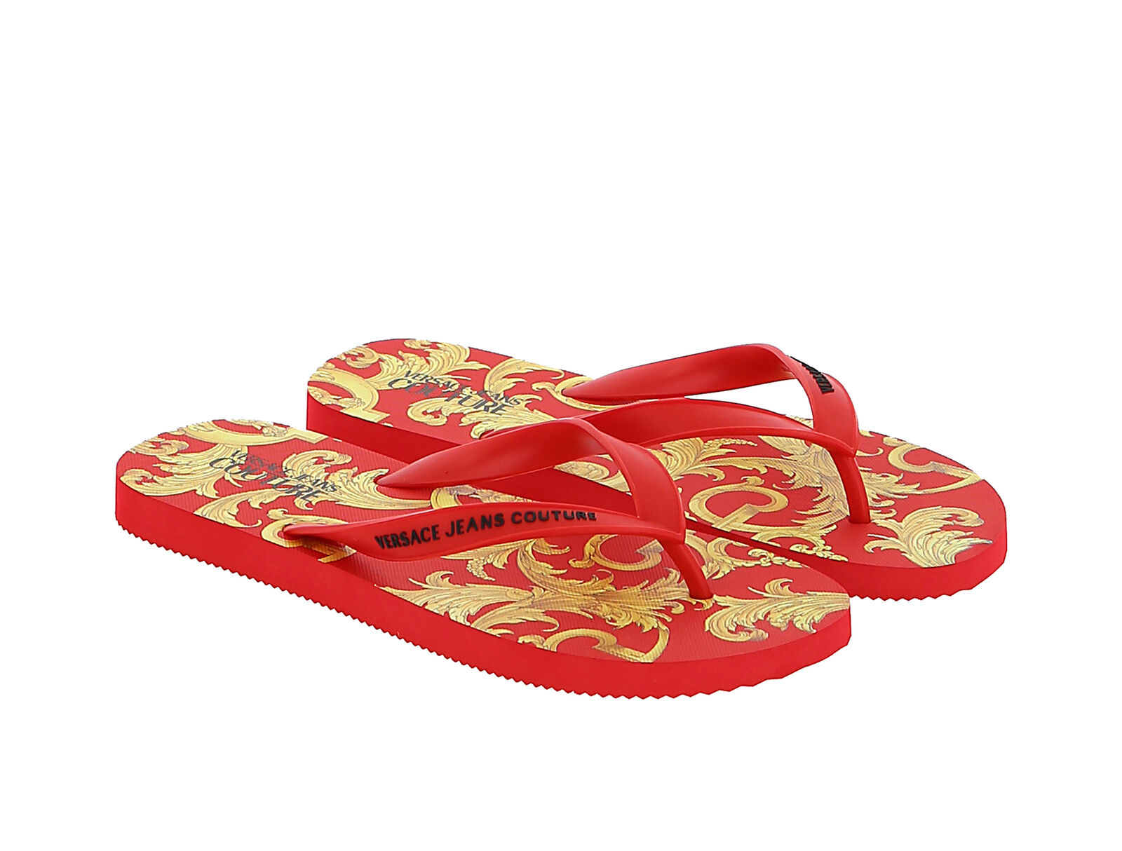 Versace Jeans Couture Red/Gold Baroque Print Flip Flop Slide