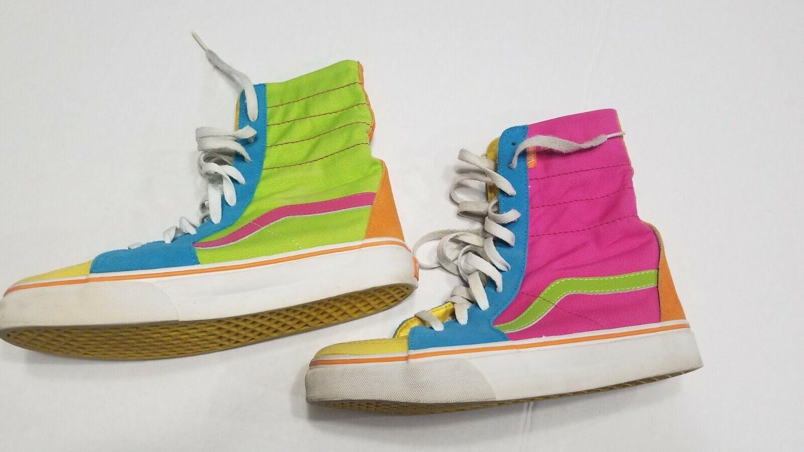 Vans SK8-Hi Multicolor Electric Pastels Pink Green orange Size 7 Men 8.5 Wmn