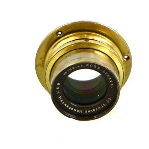 """Vintage Ross London 7"""" f/6.8 Compound Homocentric Brass Barrel Lens - UG"""