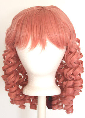 14/'/' Crimped Shoulder Length w// Short Bangs Burgundy Red Cosplay Wig NEW
