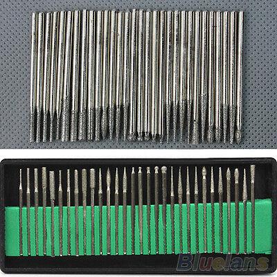 30pcs Diamond Burr Bits Set Rotary Grit Accessories Carving For Engraving L4D4