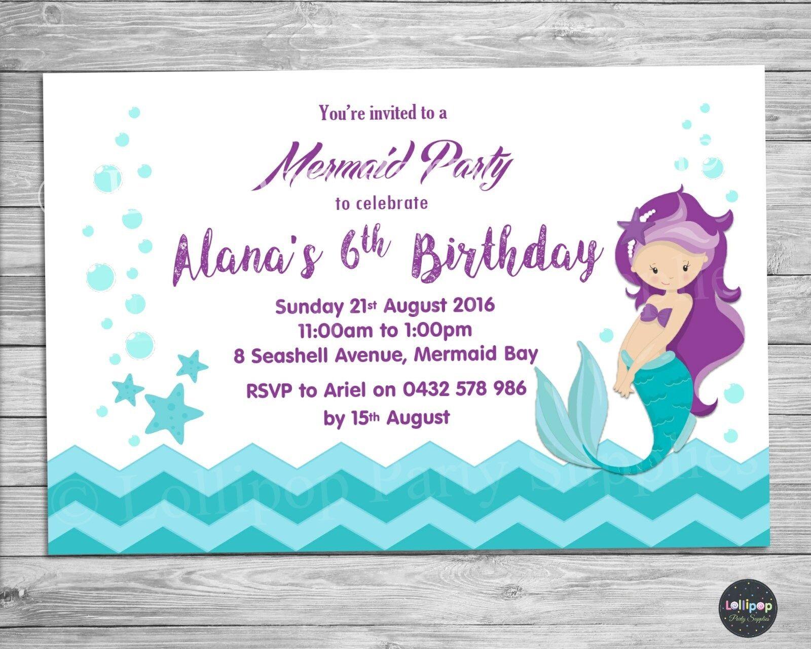 Mermaid Personalised Invitations Cards Photo Invites Birthday Party ...