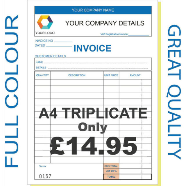 PERSONALISED DUPLICATE A6 RECEIPT INVOICE BOOK PAD PRINT NCR ORDER PAD £3