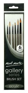 Mont Marte BMHS0008 Acrylic Gallery Series Brush Set - 6 Piece