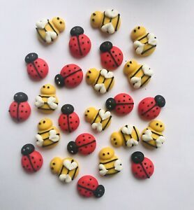 24-x-Edible-3D-Bees-amp-Ladybugs-Cupcake-Toppers-Decorations-Party-Cakes-Garden