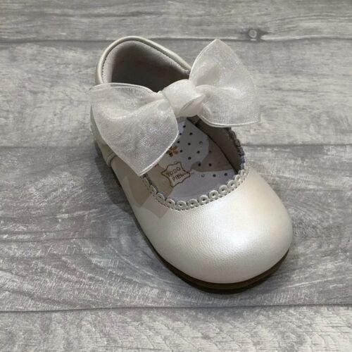 Girls Spanish Shoes Organza Bow Pearl Communion Bridesmaid Wedding Christening