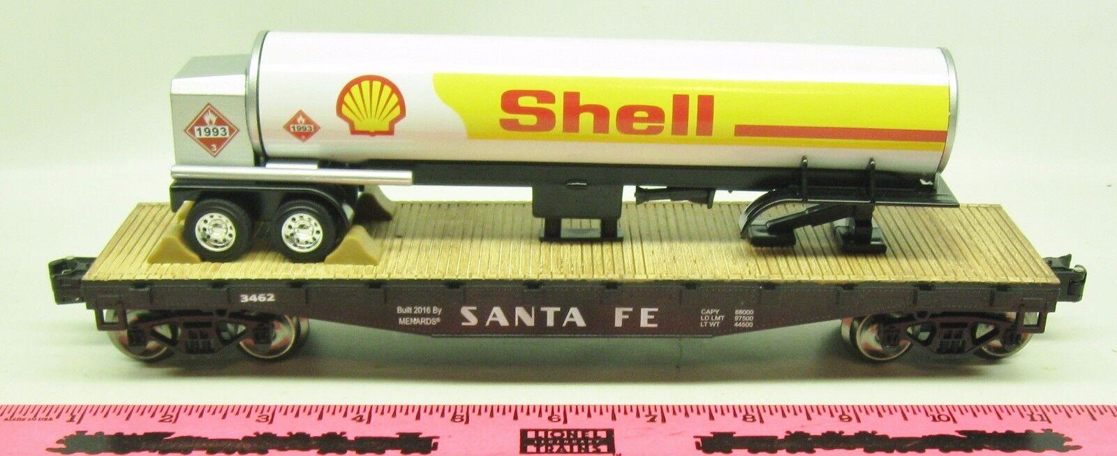 Menards  Santa Fe flatcar with Shell trailer tanker NEW 2016