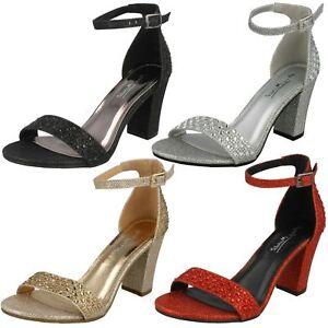 da donna color Argento Cinturino alla Caviglia sandali con strass f1r0778