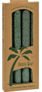 Aloha Bay Pure Vegetable Palm Wax 4 Unscented Tapers Candles Green WA22159