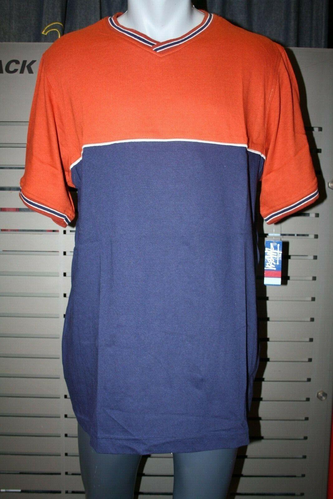 Stüssy T-Shirt blue rötlich MAT neu Vintage 90er Baumwolle Made in USA