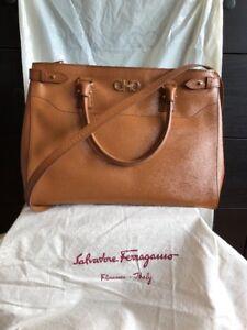 ef6aa69c477e Image is loading Au-Salvatore-Ferragamo-Batik-Brown-Saffiano-Leather-Large-