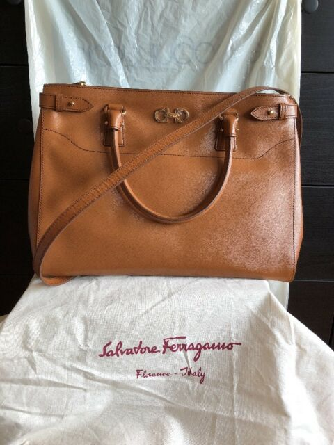 Au Salvatore Ferragamo Batik ( Brown )Saffiano Leather Large Handbag ... 9ab0f4b8f6853
