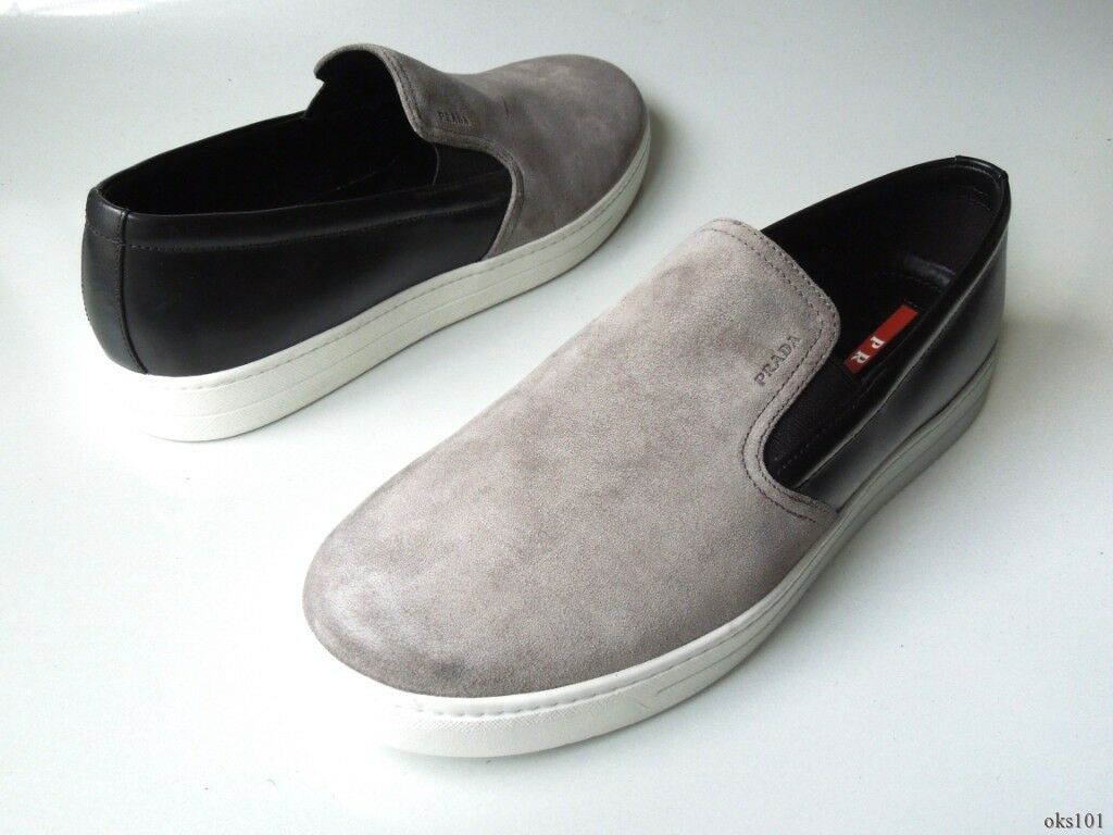 New  620 men's PRADA grey suede black leather LOGO sneaker loafers shoes 9 US 10