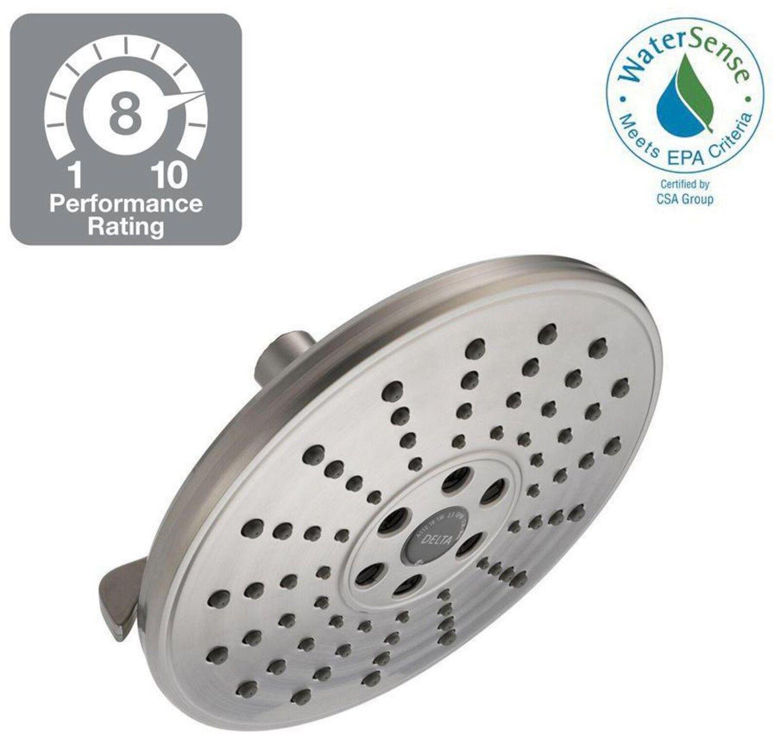 New Delta H2okinetic 3 Spray Shower Head Brushed Nickel Massage Watersense Clean