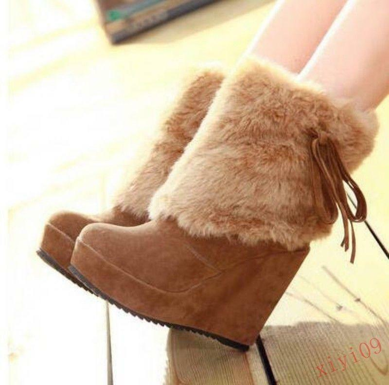 Womens Winter warm Fur Trim High Wedge Heels  Pull On Platform Ankle Boots shoes