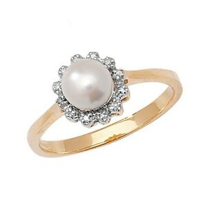 9ct-Yellow-Gold-Freshwater-Pearl-amp-4pt-Diamond-Cluster-Ring-RD270