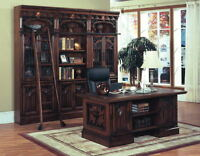 Barcelona Executive Desk & Library Bookcase W Ladder Solid Wood Office Furniture