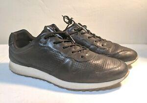 uusia kuvia hämmästyttävä hinta verkkokauppa Details about Ecco Soft Leather Danish Design Black Sneakers Mens Size 46  EU 12/12.5 US