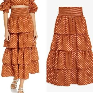 WE-WORE-WHAT-Swim-Paloma-Ruffle-Maxi-Skirt-Bran-Polka-Dot-size-Small-NWT-225