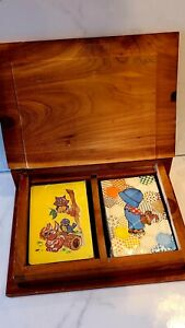 Vintage-Stardust-Nuvue-Playing-Cards-in-Wood-Display-Storage-Box