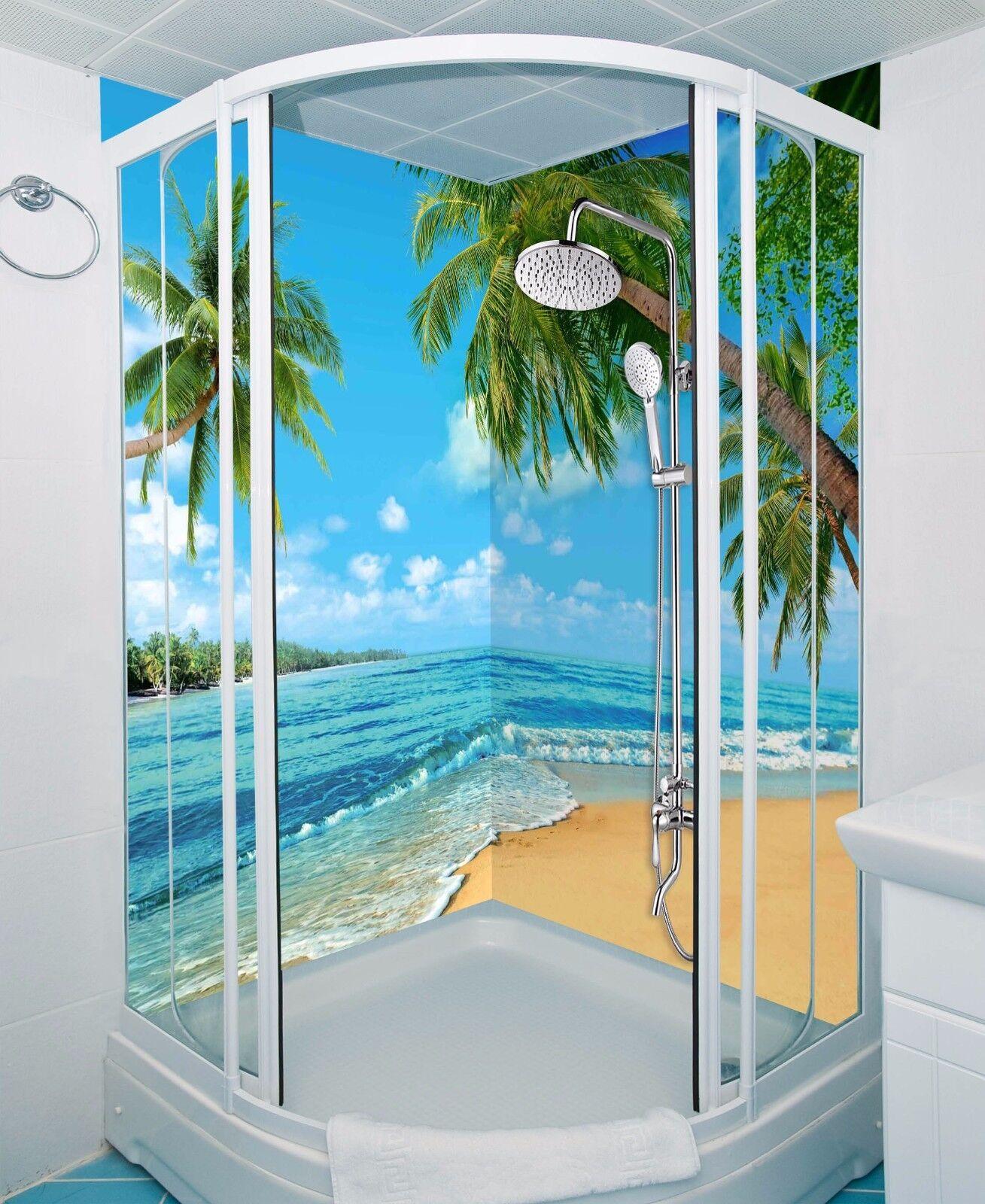 3D Beach Trees Sea WallPaper Bathroom Print Decal Wall Deco AJ WALLPAPER UK