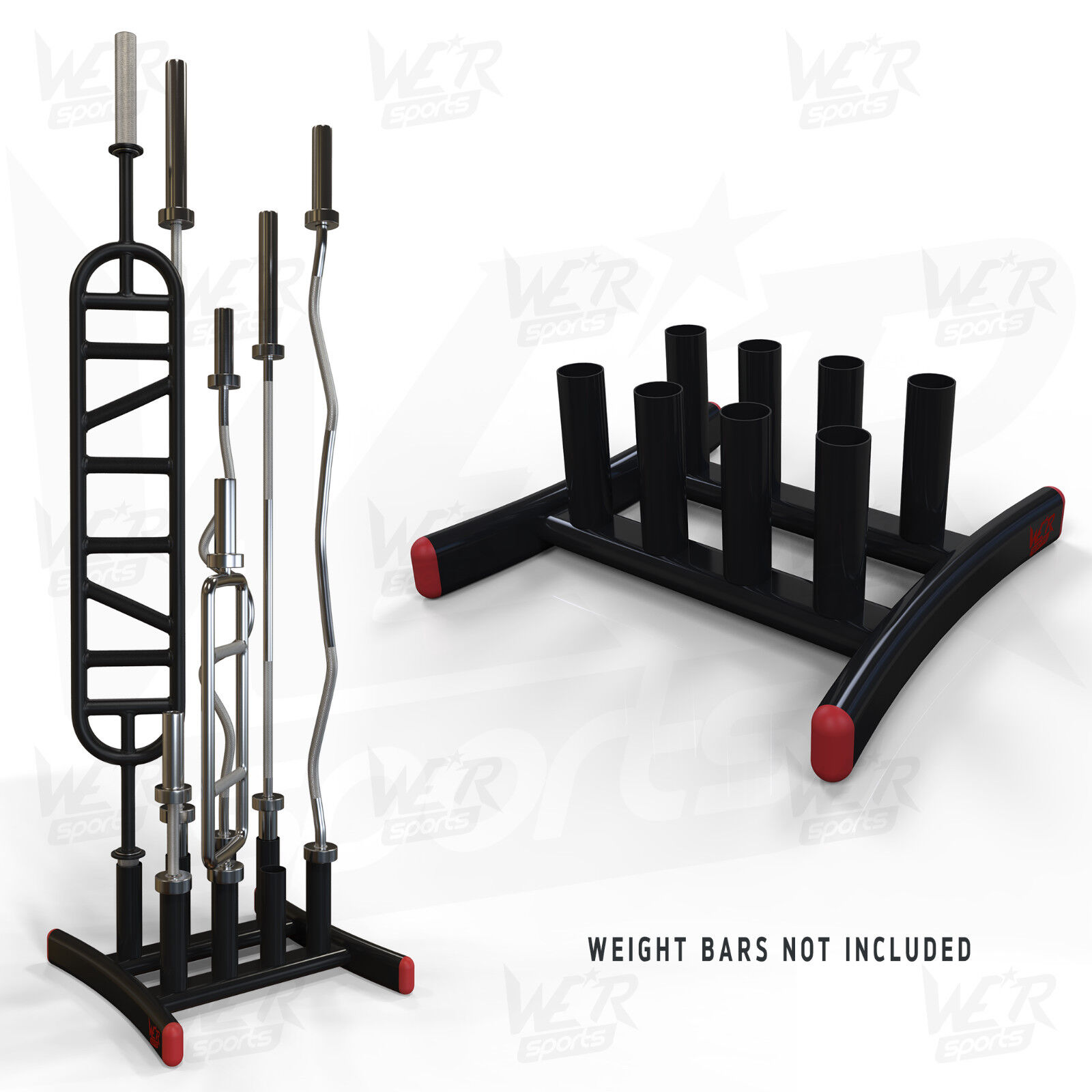 We R Sports Olympic Bar Floor Stand Holds 8 Bars Barbell Curlbar Gym Weight Rack