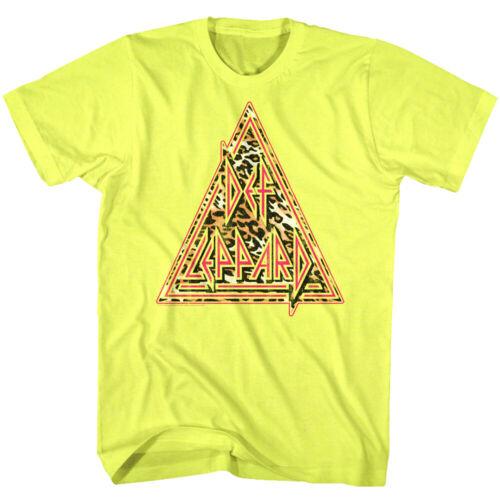 Def Leppard Neon Leopard Print Men/'s T Shirt Glam Rock Band Concert Merch Top