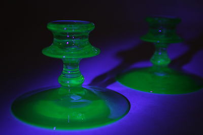 "Two (2) Uranium Green Vaseline Glass Candle Holders 4 1/2"" Diameter x 3 1/4"" T"