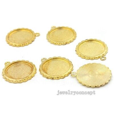 15x Gold Plated Round Flower Brim Charms Alloy Pendants Handmade Crafts Lots J
