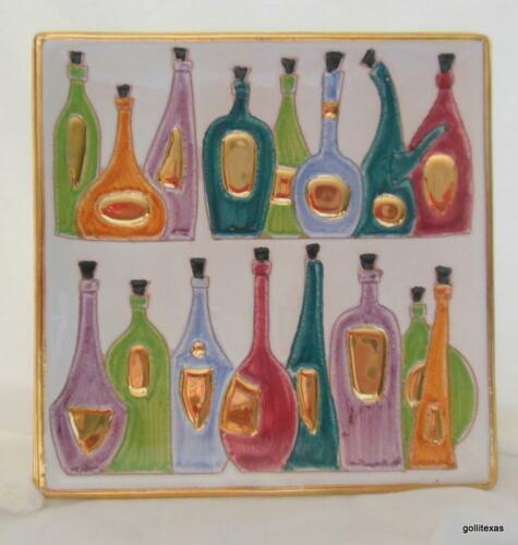 """Vintage Square Display Plate with Spirit Bottles Liquers and Wines 6/"""""""