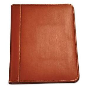 Samsill 71716 Contrast Stitch Leather Padfolio, 8 1/2 X 11, Leather, Tan