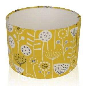 Fryetts-Bergen-Scandi-Flowers-Ochre-Mustard-Lampshade-Ceiling-Pendant-Table-Lamp
