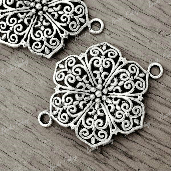 20pcs Wholesale New Tibetan Antique Silver Flowers Links TS3469