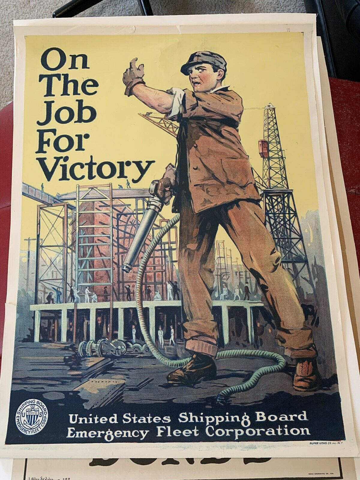 Original WW1 Poster On The Job For Victory US Shipping Board MAKE AN OFFER 1
