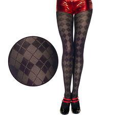 Black Grey Diamond Argyle Pattern Semi-Sheer Tights Business Hosiery Pantyhose