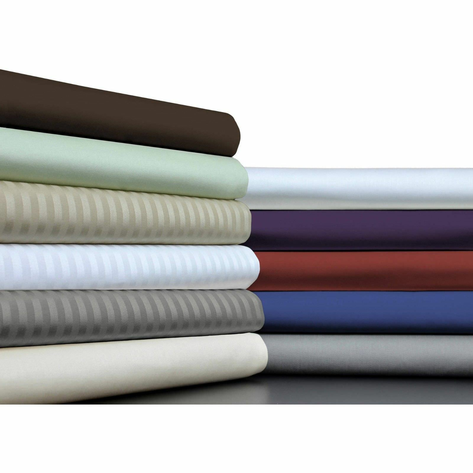 1000 TC Soft Egyptian Cotton All Bedding Items Olympic Queen Size Solid Stripe