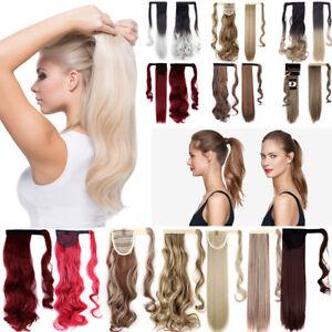 650842873e6217 Das Bild wird geladen Dick-Haarteil-Zopf -Pferdeschwanz-Haarverlaengerung-Wrap-on-Glatt-
