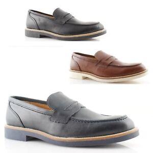 mocassins college homme chaussures d 39 t italien mocassin cuir noir bleu cuir ebay. Black Bedroom Furniture Sets. Home Design Ideas
