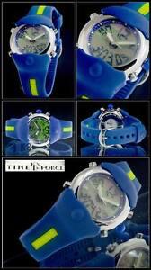 Dynamisch Time Force Chronograph Analoge-digital Blau-gelb HÜbsche Unisex Uhr Blau Band Spezieller Sommer Sale