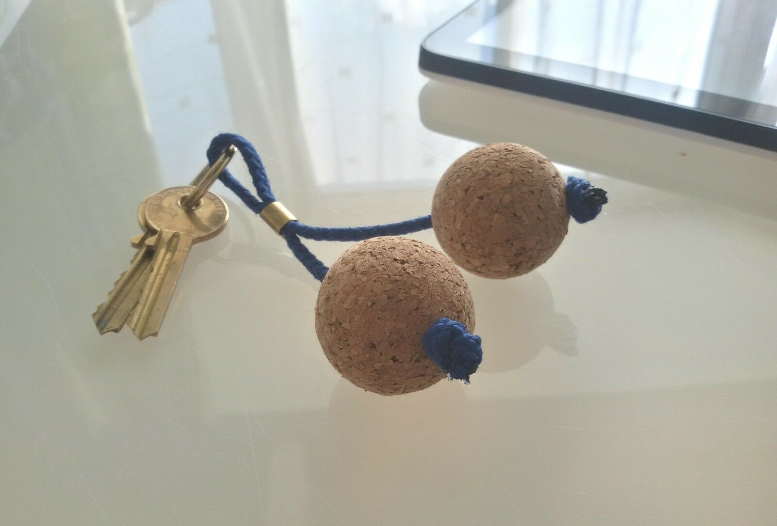 Small Wooden Cork Floating Ball Key Rings
