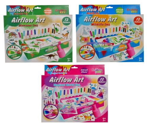 Wildlife Kreative Kids 12 Colour Airflow Unicorn Airbrush Art Set ~ Dinosaur