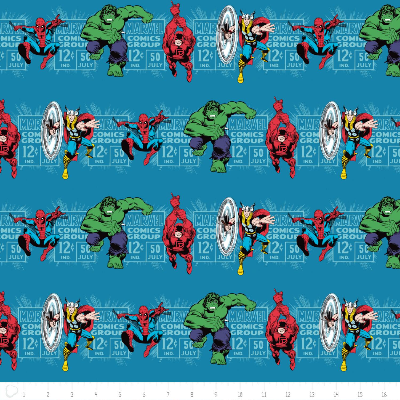 Marvel Comic Fabric Teal Tonal 100/% Cotton