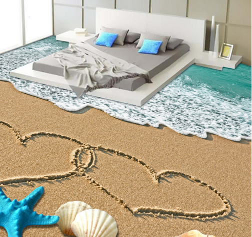 3D Romantic Beach 64 Floor WallPaper Murals Wall Print 5D AJ WALLPAPER UK Lemon